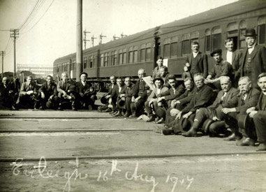 The great strike, 1917. Railway workers at Eveleigh yards.