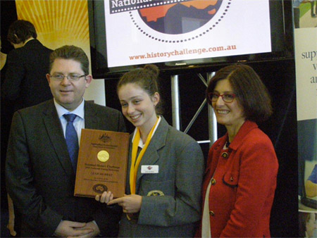 2013 National History Challenge award winner Leah Murray with Senator the Hon. Scott Ryan, Parliamentary Secretary to the Minister for Education, and Daryl Karp, Director of the Museum of Australian Democracy at Old Parliament House.