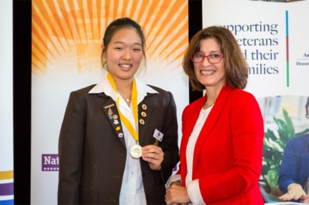 Museum of Australian Democracy Category winner 2014, Sophia Youn Jee Min with Director Daryl Karp. Photo: Steve Keough