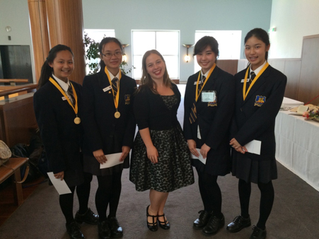Photo: Museum Educator Ann-Elise Koerntjes with Hannah Clapperton, Angelo Ho, Emily Tang and Racheline Tantular, Perth Modern School