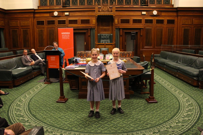 Photo: 2017 Year Level 4 winners Abbie Ross and Emerson Shannon at the ACT National History Challenge presentation ceremony