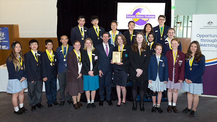Photo: National History Challenge 2017 winners at Australian Parliament House
