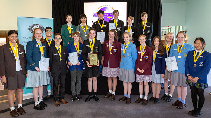 Photo: National History Challenge 2018 winners at Australian Parliament House
